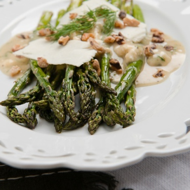 Roasted Asparagus Salad with Blue Cheese Vinaigrette
