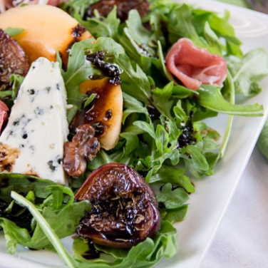 Roasted Fig and Arugula Salad with Balsamic Reduction