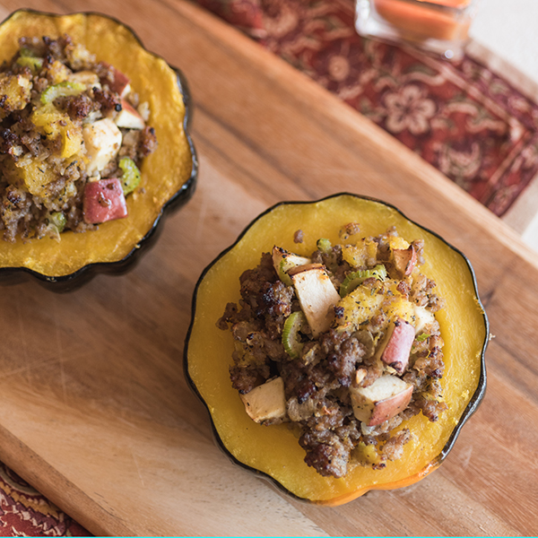 Sausage and Apples Stuffed Acorn Squash