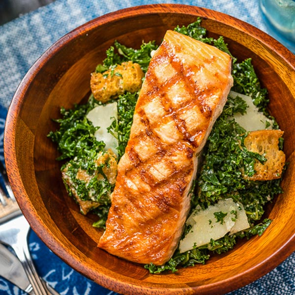 Kale Caesar Salad with Grilled Salmon