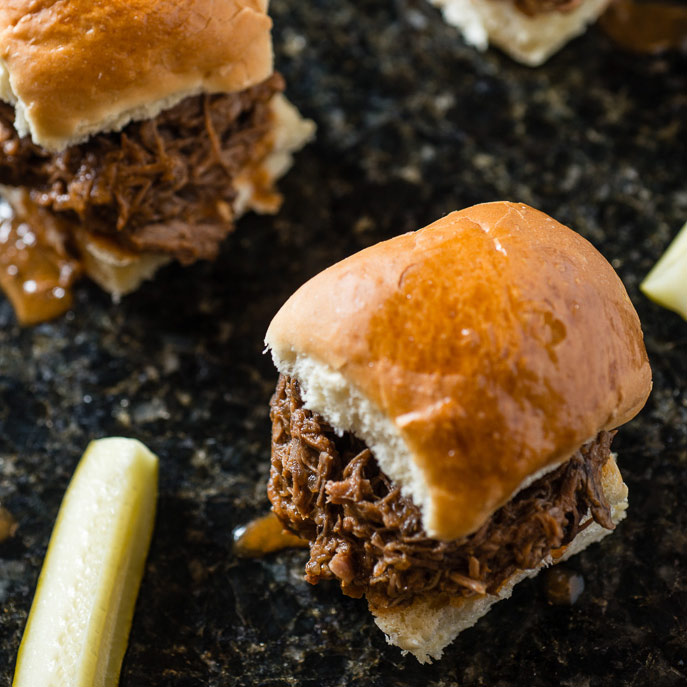 Slow Cooker Shredded Beef Sloppy Joes