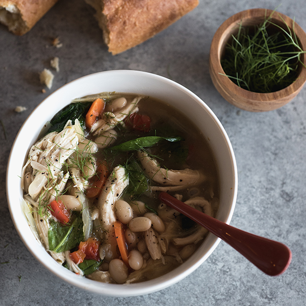 Slow Cooker Chicken and Fennel Bean Soup