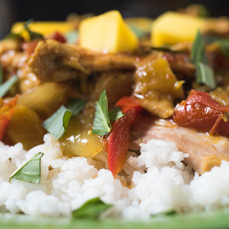 Slow Cooker Mango Chicken with Coconut Rice