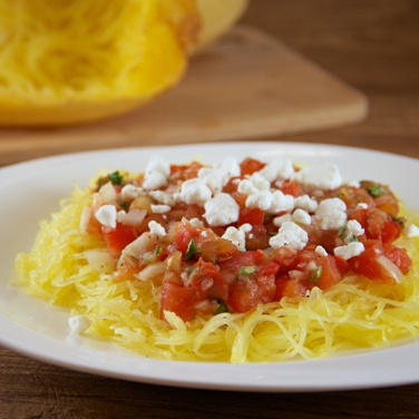 Slow Cooker Spaghetti Squash with Warm Tomato Salsa