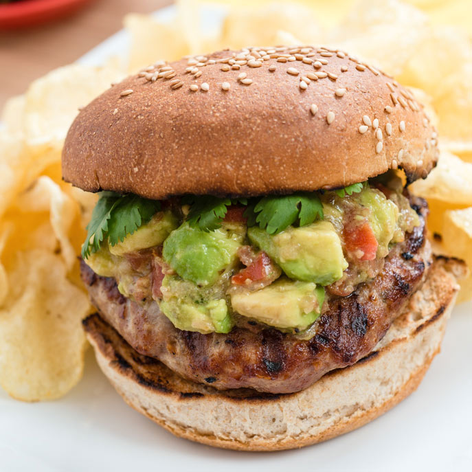 Spicy Turkey Burgers with Avocado and Shallot Relish