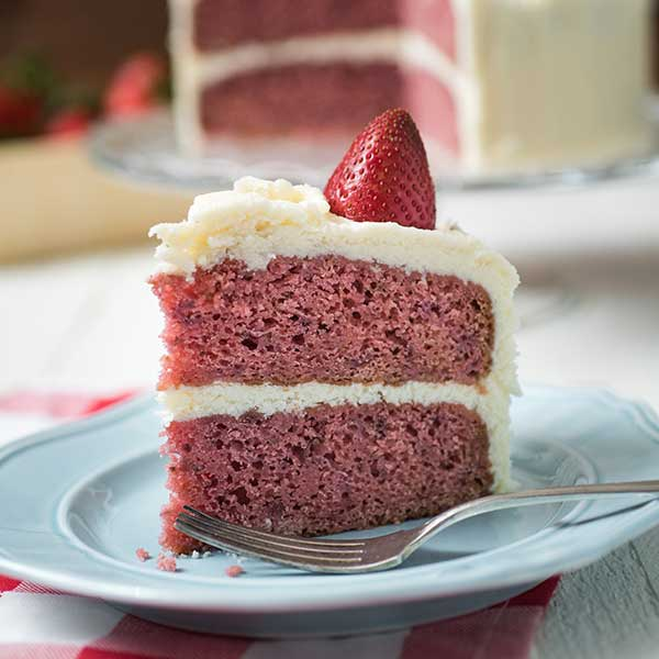 strawberry cake on a blue plate