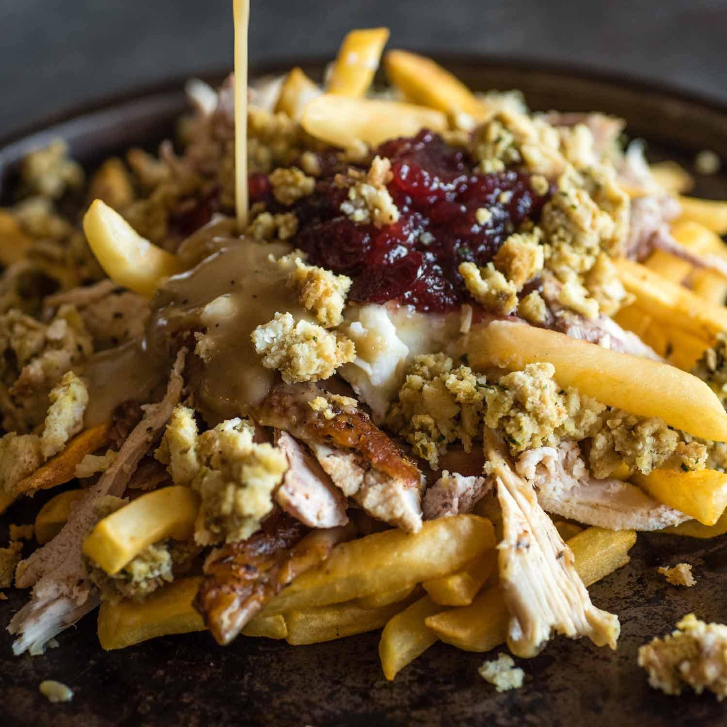 Use Thanksgiving leftovers for a new twist on a traditional turkey poutine.