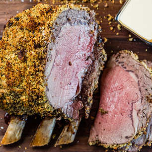 Herb-Crusted Rib Roast with Mustard Cream Sauce  image
