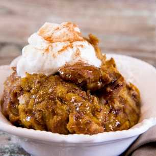Slow Cooker Maple Glazed Pumpkin Bread Pudding image
