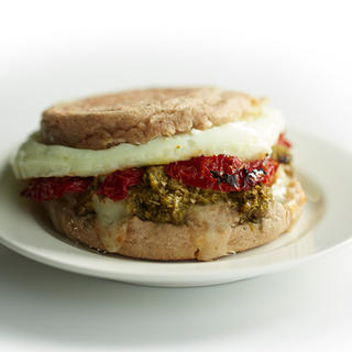 Related recipe - Pesto with Sun-dried Tomato, Mozzarella and Egg Breakfast Sandwich