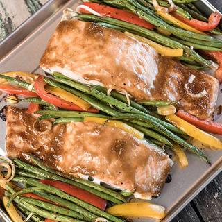 Dijon Salmon with Green Beans Sheet Pan Supper image
