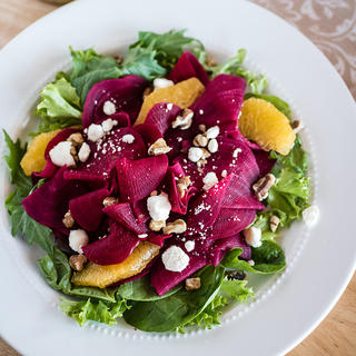 Spiralizer Beets with Orange and Goat Cheese Salad image
