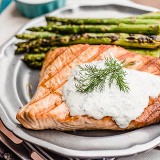 Grilled Salmon with Yogurt Lemon Caper Sauce image