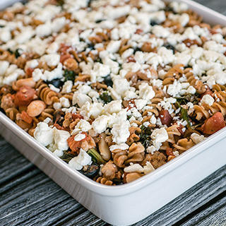Mediterranean Ground Turkey and Whole Wheat Pasta Bake image
