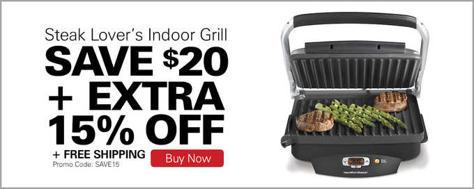 Steak Lover's™ Indoor Grill - Save $20 + Extra 15% Off